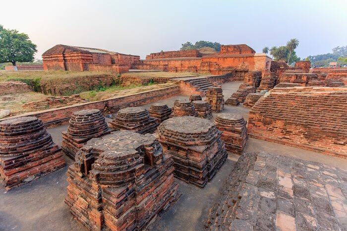 The ruins of Nalanda Mahavihara at the Nalanda University excavation site
