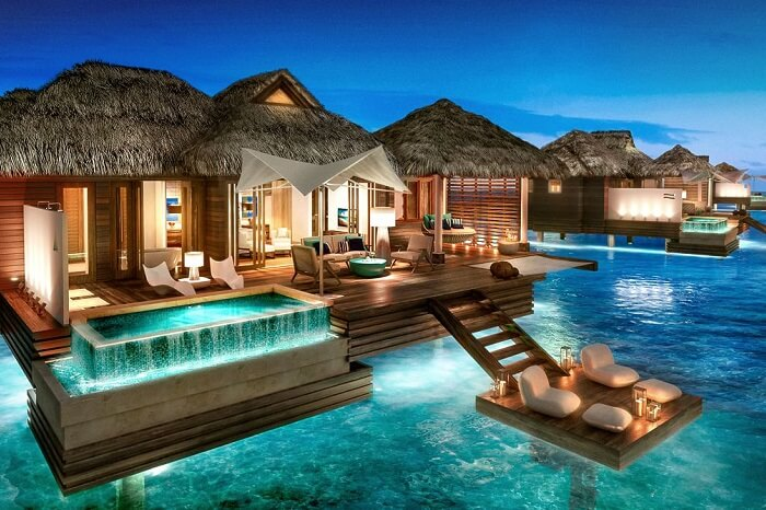 Over-The-Water Bungalows at Sandals Royal Caribbean in Jamaica