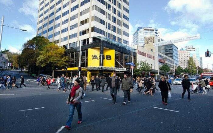 People walking around in Queen Street