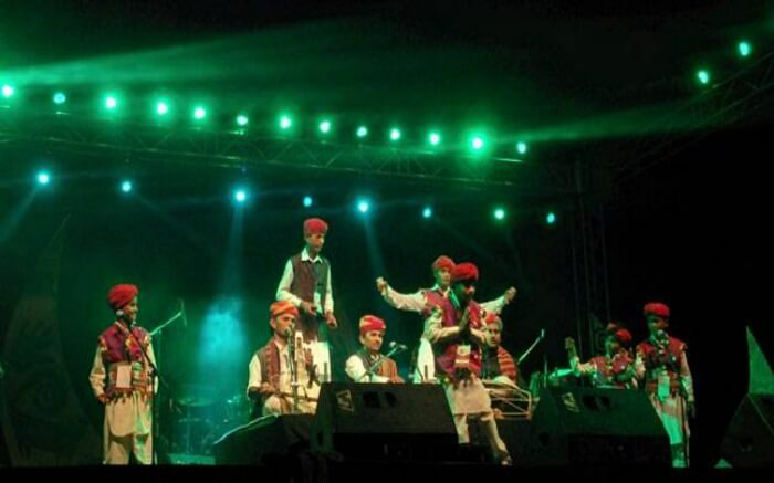 Artists performing during the Shree Sacred Festival in Pushkar which is one of the ideal places to visit in Rajasthan in December