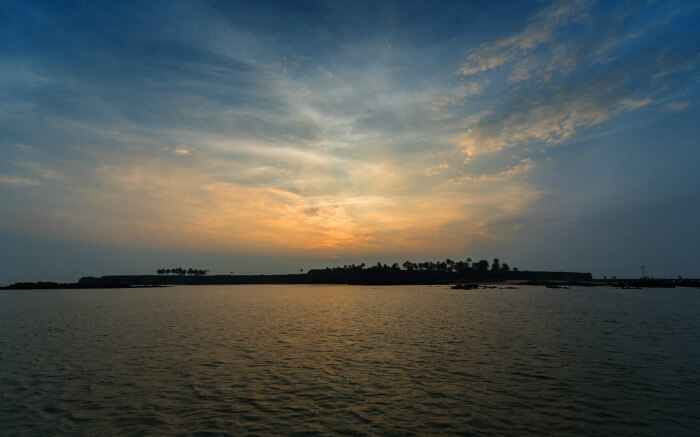 Sunset with beautiful sky at Sindhudurg Fort - one of the marine forts in India