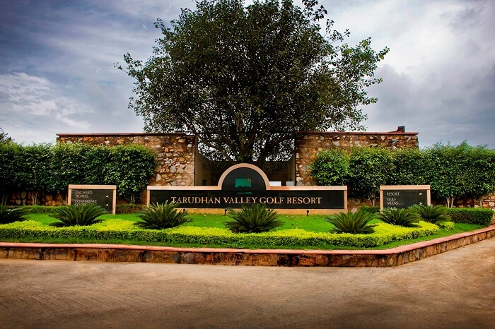 A view of the drive-in at the Tarudhan Valley Golf Resort in Manesar