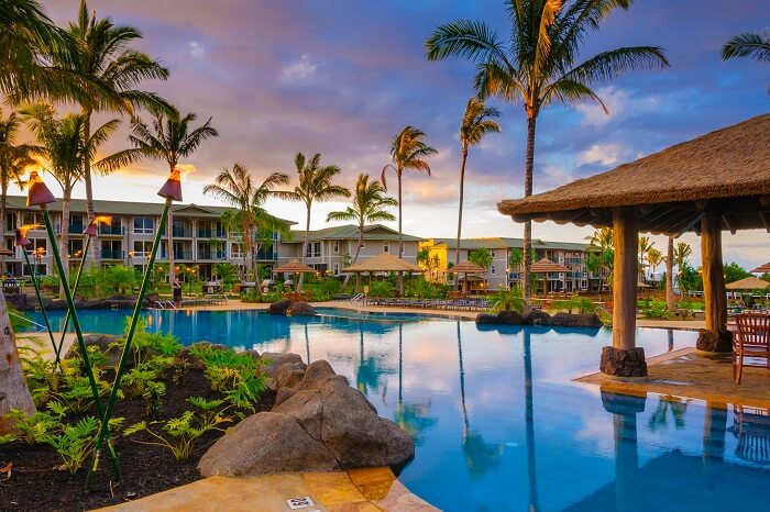 The Westin Resort pool and cabana at sunset in Princeville on the tropical island of Kauai in Hawaii