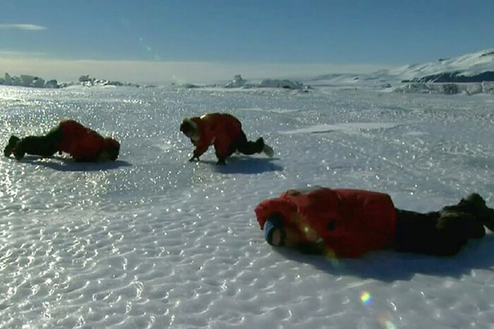 Inhabitants at research station in Antarctica enjoying fun moments in a scene from the documentary Encounters at the End of the World