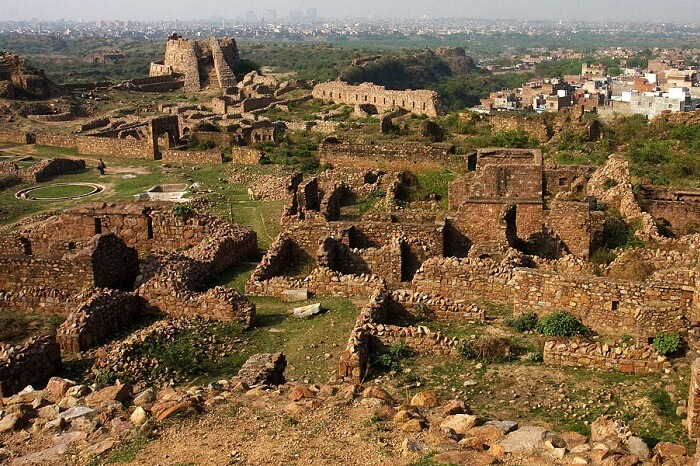The ruins of the Tughlaqabad Fort in the Tughlaqabad area