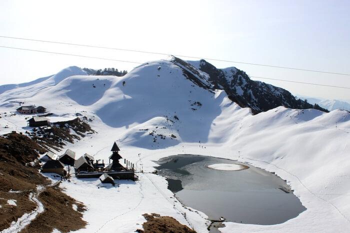 An aerial view of Prashar Lake after a fresh snowfall
