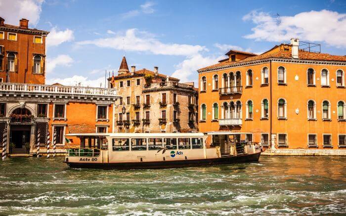 Vaporetto (passenger boat) at Grand Canal in Venice