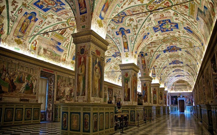 Interior of Vatican Museum in Rome