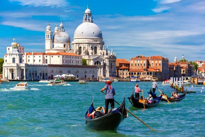 A view of Santa Maria della Salute by Punta della Dogana in Venice