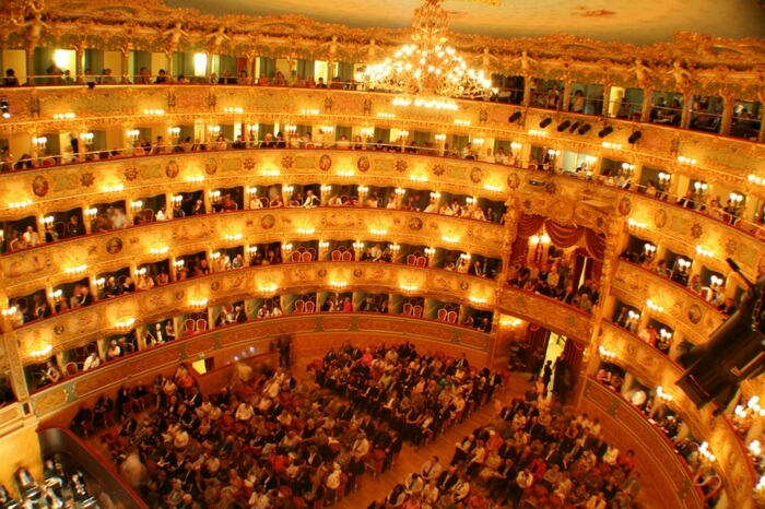 A view of jam packed Teatro La Fenice opera house of Venice
