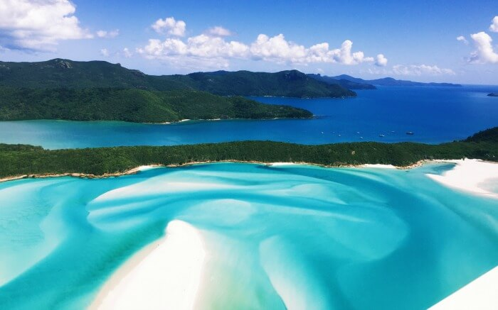 View of Whitehaven Beach from a helicopter