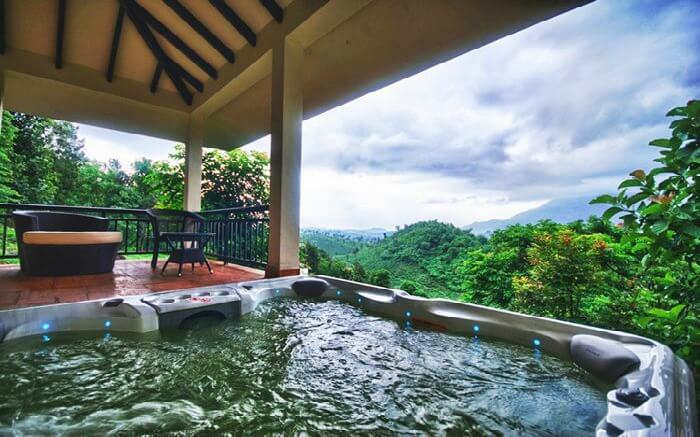 Panoramic view from the jacuzzi in the Windflower Resort and Spa which is among the most romantic retreats ever