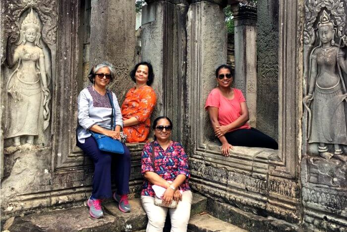 Me and the pretty ladies of my group at the Angkor Wat temple