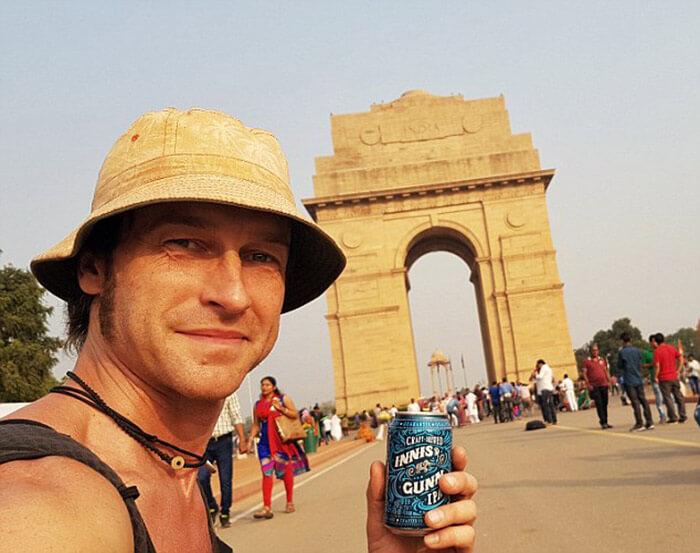 Manny hitchhiking to Delhi