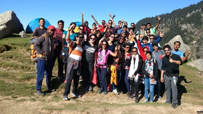 Travelers visiting Triund