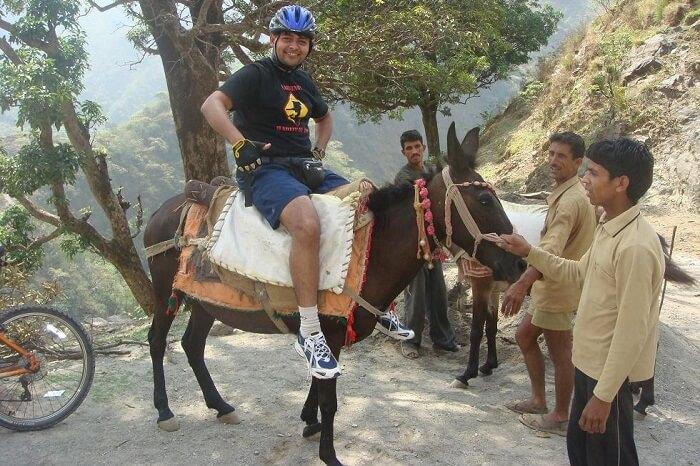 A man goes for horse riding at Chakrata