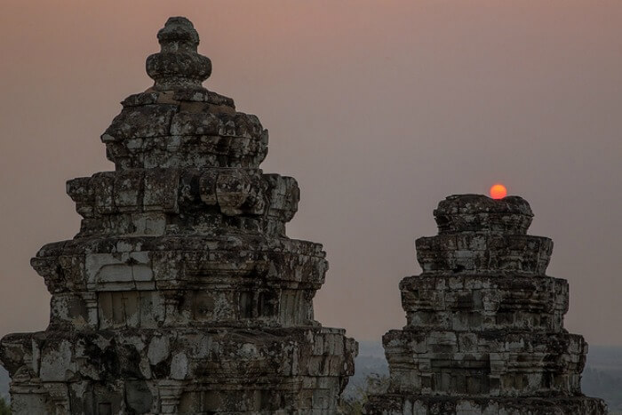 Temples in Cambodia during sunset