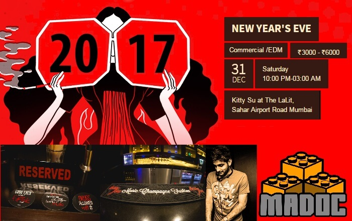 A promotional poster of the New Year Party at Kitty Su in Mumbai
