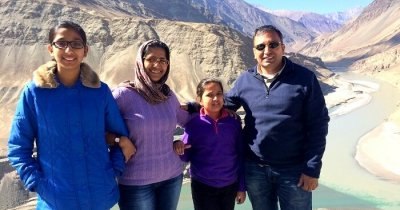Manish with his family on a trip to Ladakh