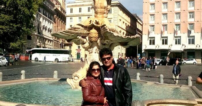 Sabyasachi and his wife during their trip to Europe