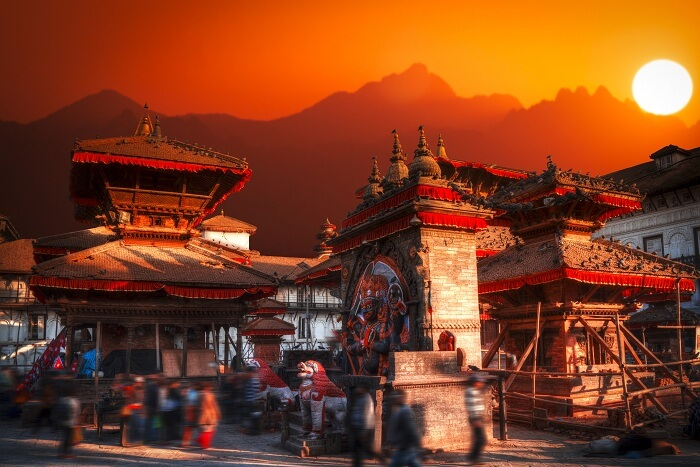A sunset shot of the ancient Patan city in Kathmandu Valley