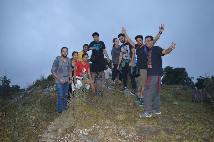 soumya and his friends trekking in the night