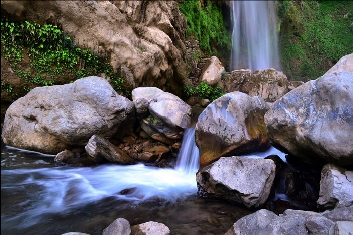 A beautiful snap of the flowing water at the Tiger Falls in Chakrata