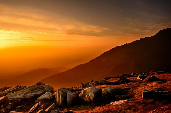 A shot of the sunrise at Triund near Mcleodganj