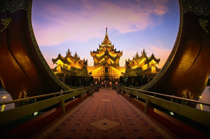 The pathway leading to the Karaweik palace at Yangon in Myanmar