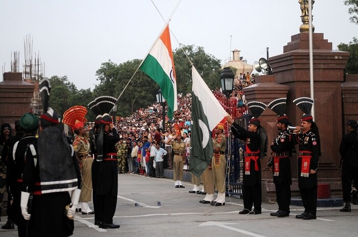 Beating The retreat ceremony in Wagah Border