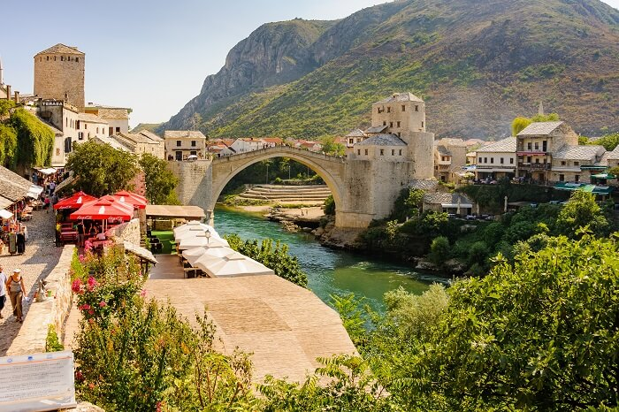 A beautiful view of the new Stari Most Old Bridge at Bosnia and Herzegovina