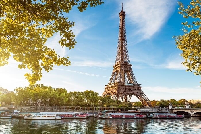 A shot of the Eiffel Tower taken from the other side of the water body in France