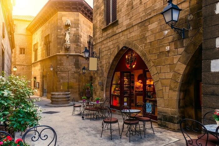 The traditional architectures of Poble Espanyol at Barcelona in Spain