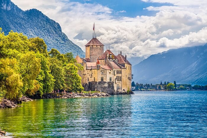 Beautiful view of famous Chateau de Chillon at Lake Geneva in Switzerland