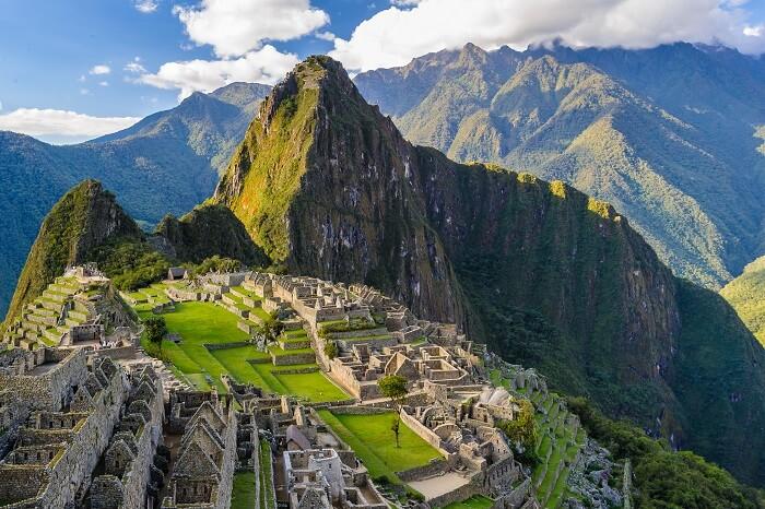 An aerial view of the ruins of Machu Picchu in Peru