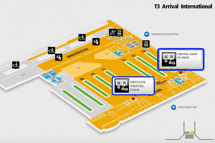 A schematic of the T3 of the Delhi airport and the forex counters there