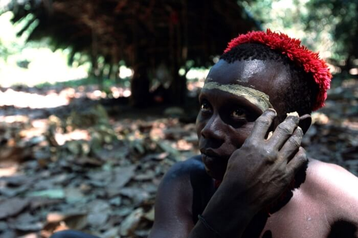 A member of Jarawa tribe poses for a photograph