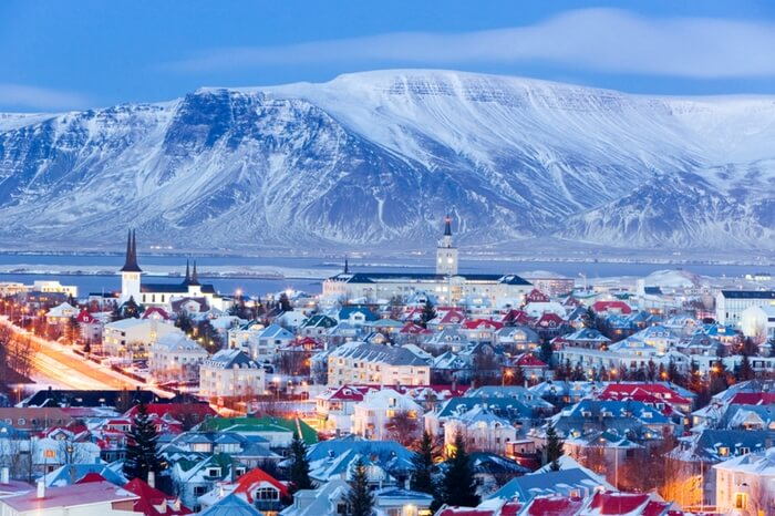 A beautifully decorated Reykjavik city in Iceland during Christmas