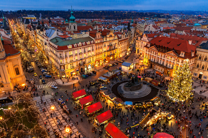 Top view of Christmas market in Prague