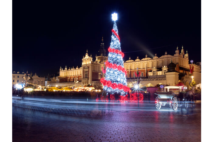 Decorated main market square in Krakow