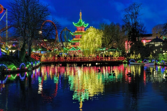 Decorated Tivoli Garden in Copenhagen
