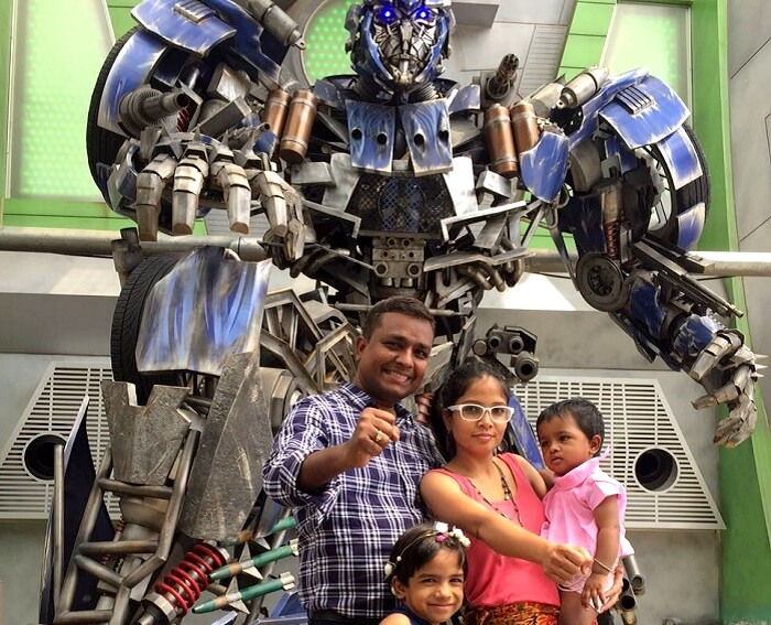 Govind and his family at the Universal Studios in Singapore