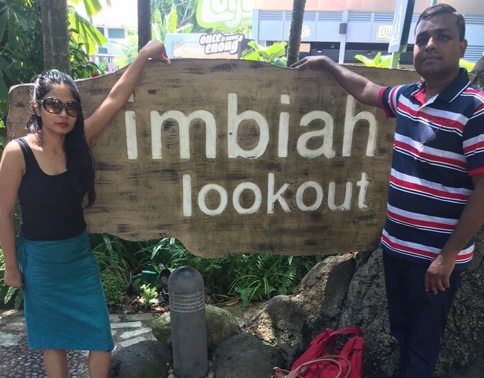 Govind and his wife at Imbiah Lookout in Sentosa