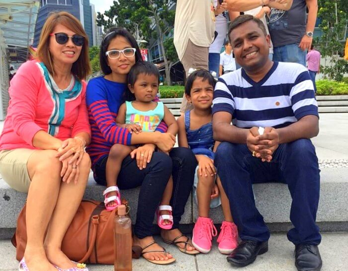 Govind and his family doing sightseeing in Singapore