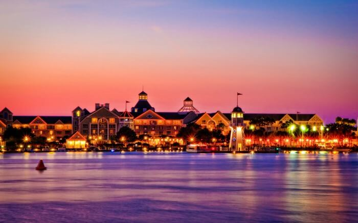 Disney World in Orlando in evening