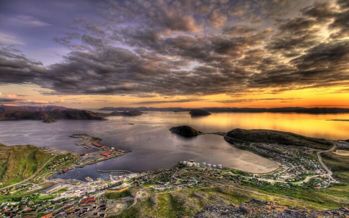 Midnight sun as viewed in Rypefjord in Hammerfest