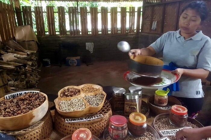 woman making coffee at a farm