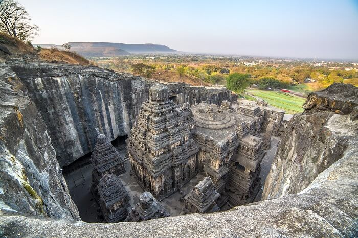 The beautiful Kailas Temple within the Ellora Caves Complex