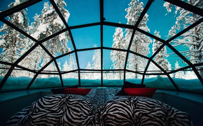Interior of a glass igloo in Kakslauttanen Arctic Resort