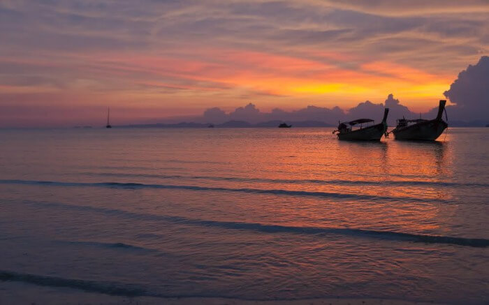 Sunset from a beach in Krabi